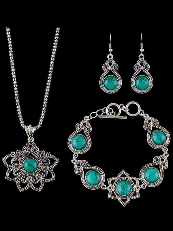 Faux Rammel Floral Water Drop Jewelry Set