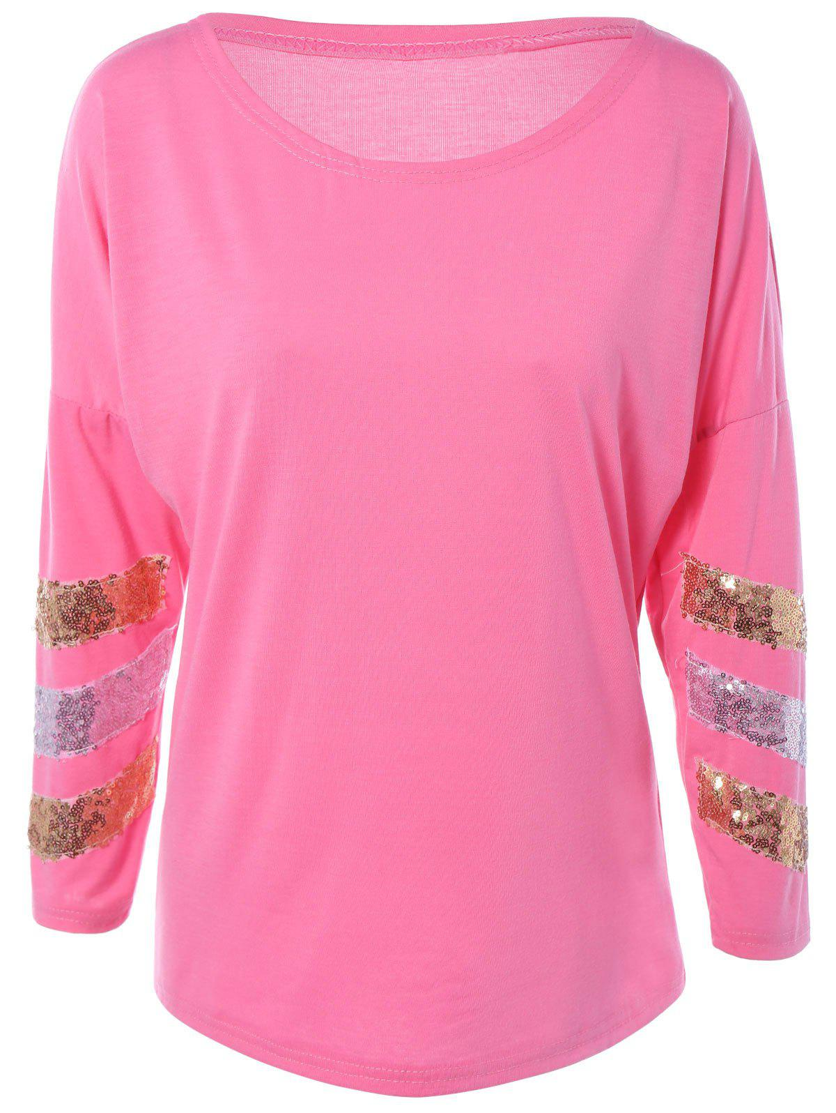 Sequined Stripe Long Sleeve Loose-Fitting T-Shirt - PINK 2XL