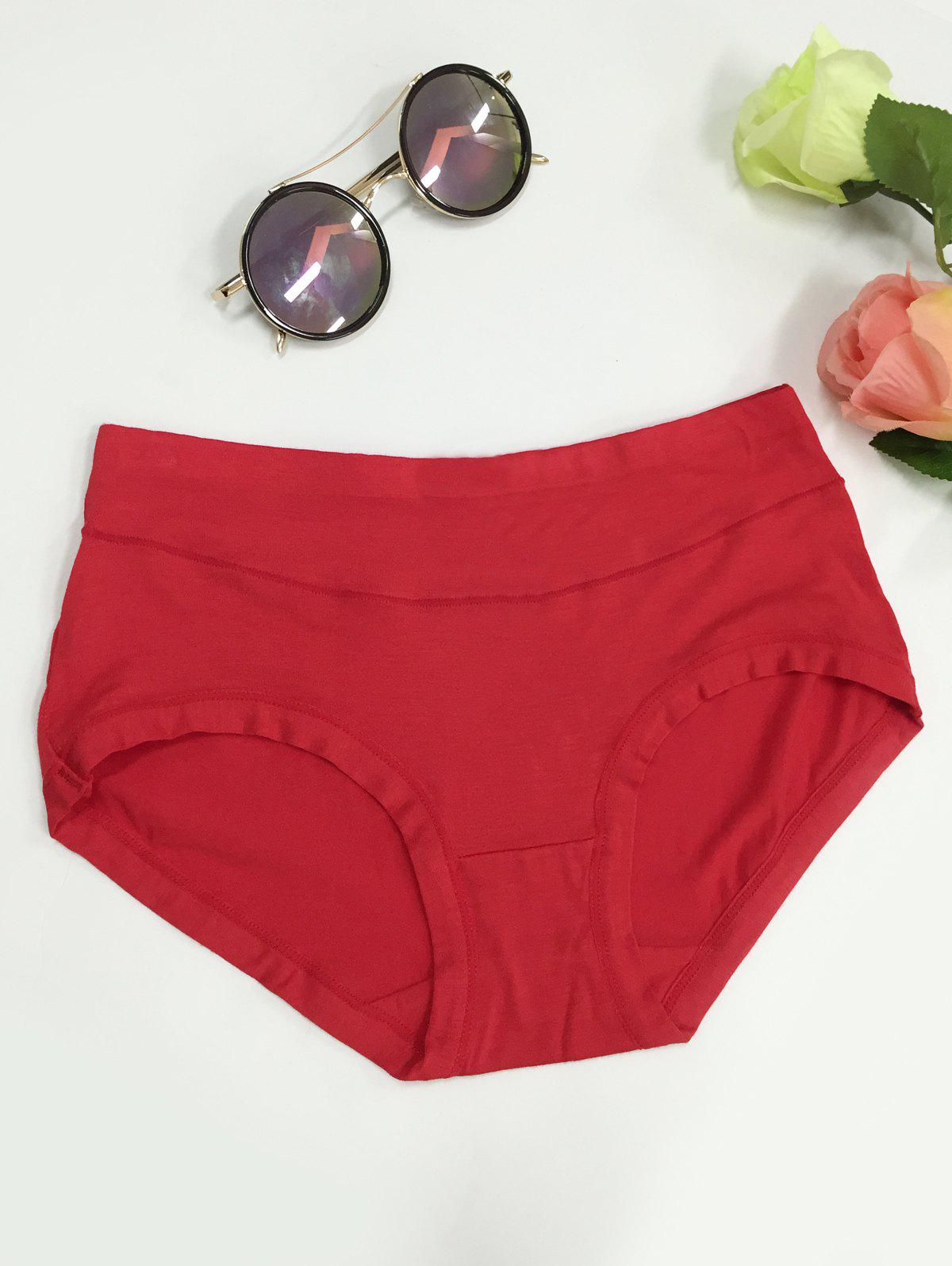 High Waist Stretchy Briefs - RED L
