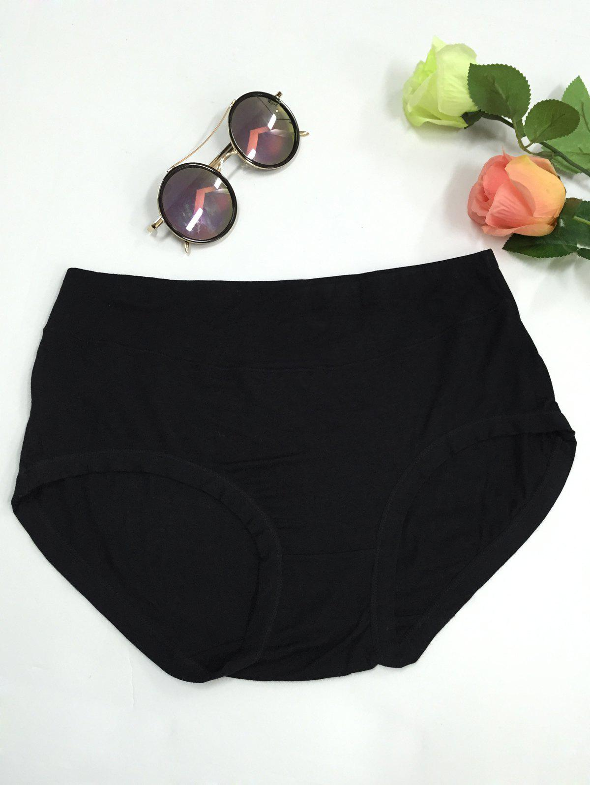 High Waist Stretchy Briefs - BLACK 3XL