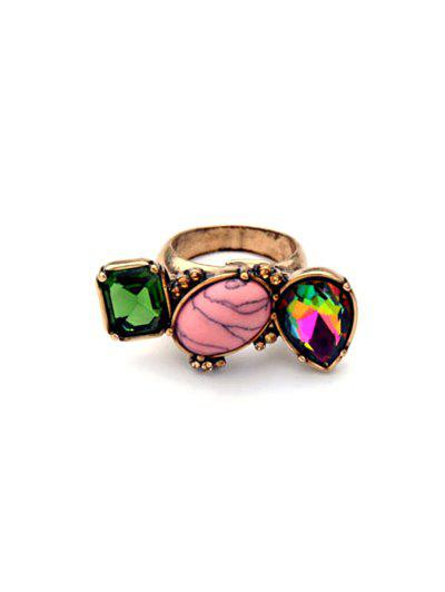 Geometric Oval Natural Stone Charm Ring - COLORMIX