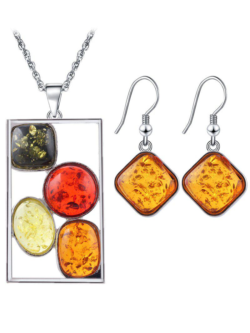 Faux Crystal Insect Geometric Jewelry Set - SILVER