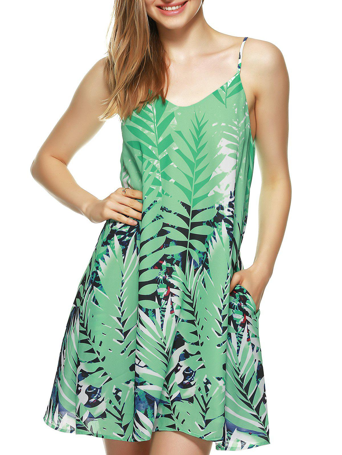 Spaghetti Strap Leaf Print Summer Dress
