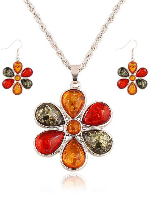 Faux Crystal Blossom Jewelry Set - SILVER