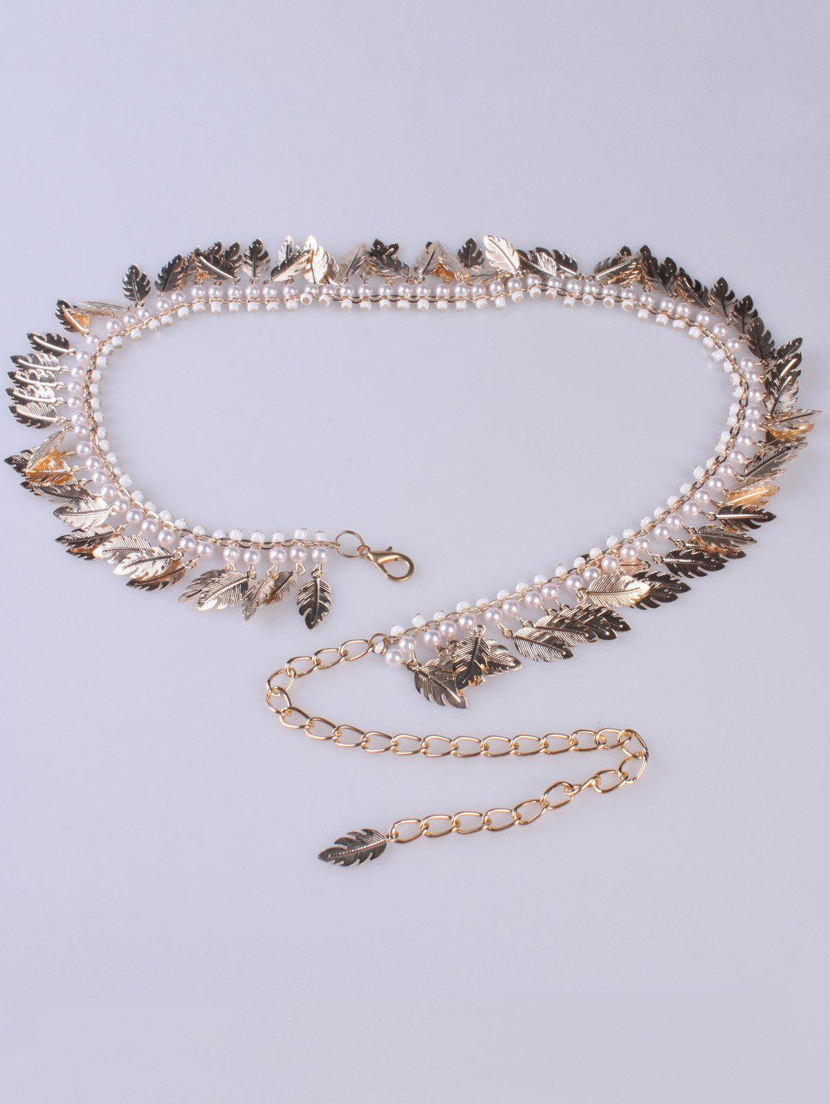 Dancer Feather Faux Pearl Waist Belt Chain - GOLDEN