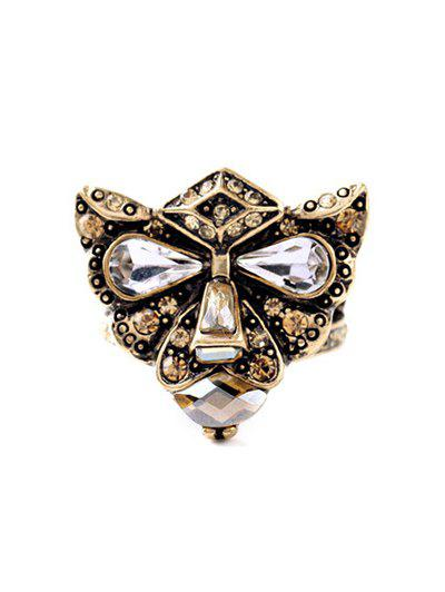 Etched Rhinestone Leopard Head Ring - COPPER COLOR