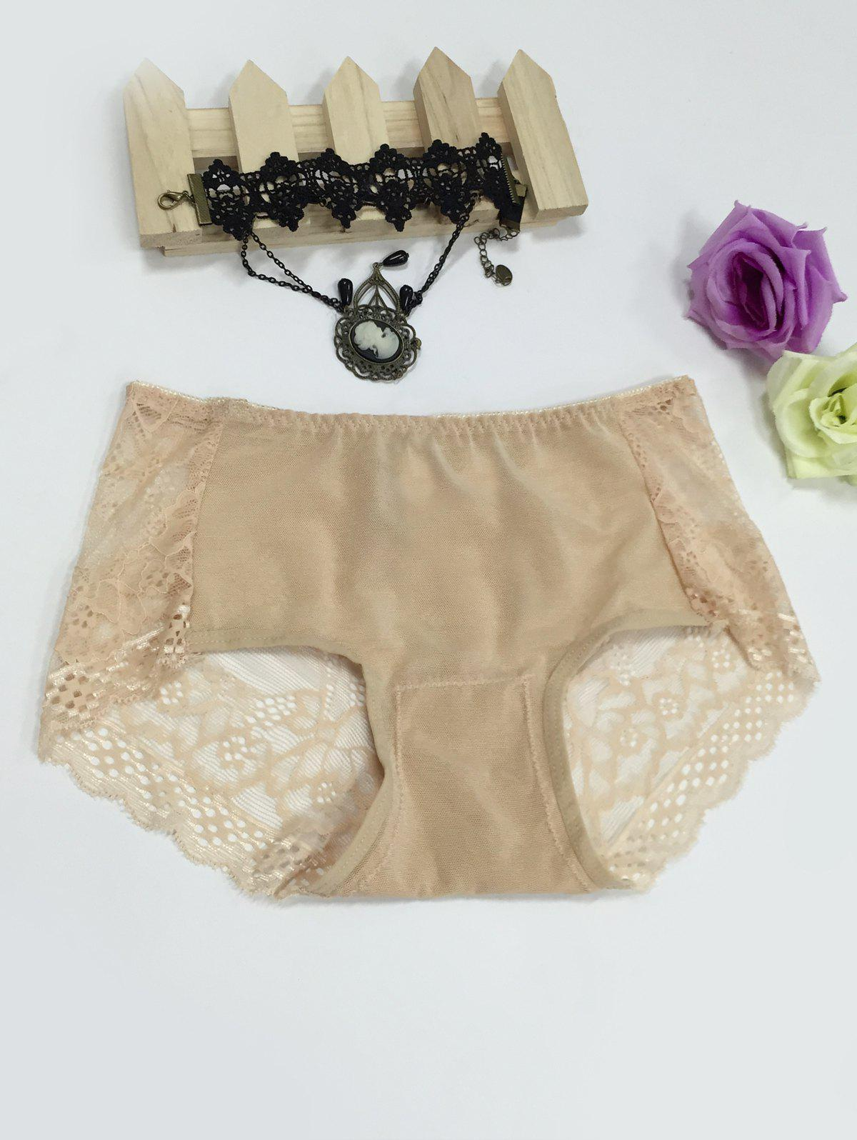 Hollow Out See-Through Spliced Briefs - COMPLEXION L