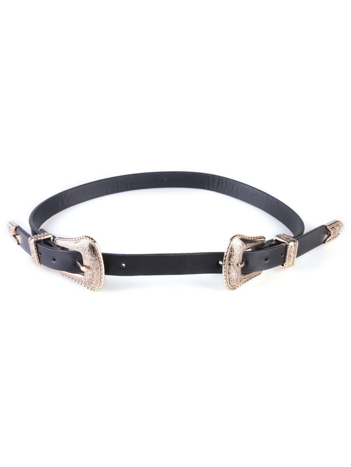 Double Buckles Wide Belt - BLACK