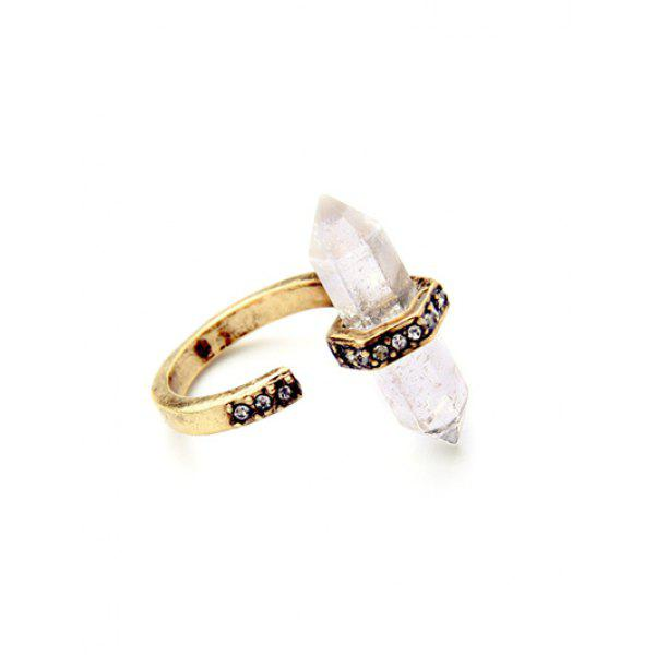 Chic Etched Rhinestone Natural Stone Ring