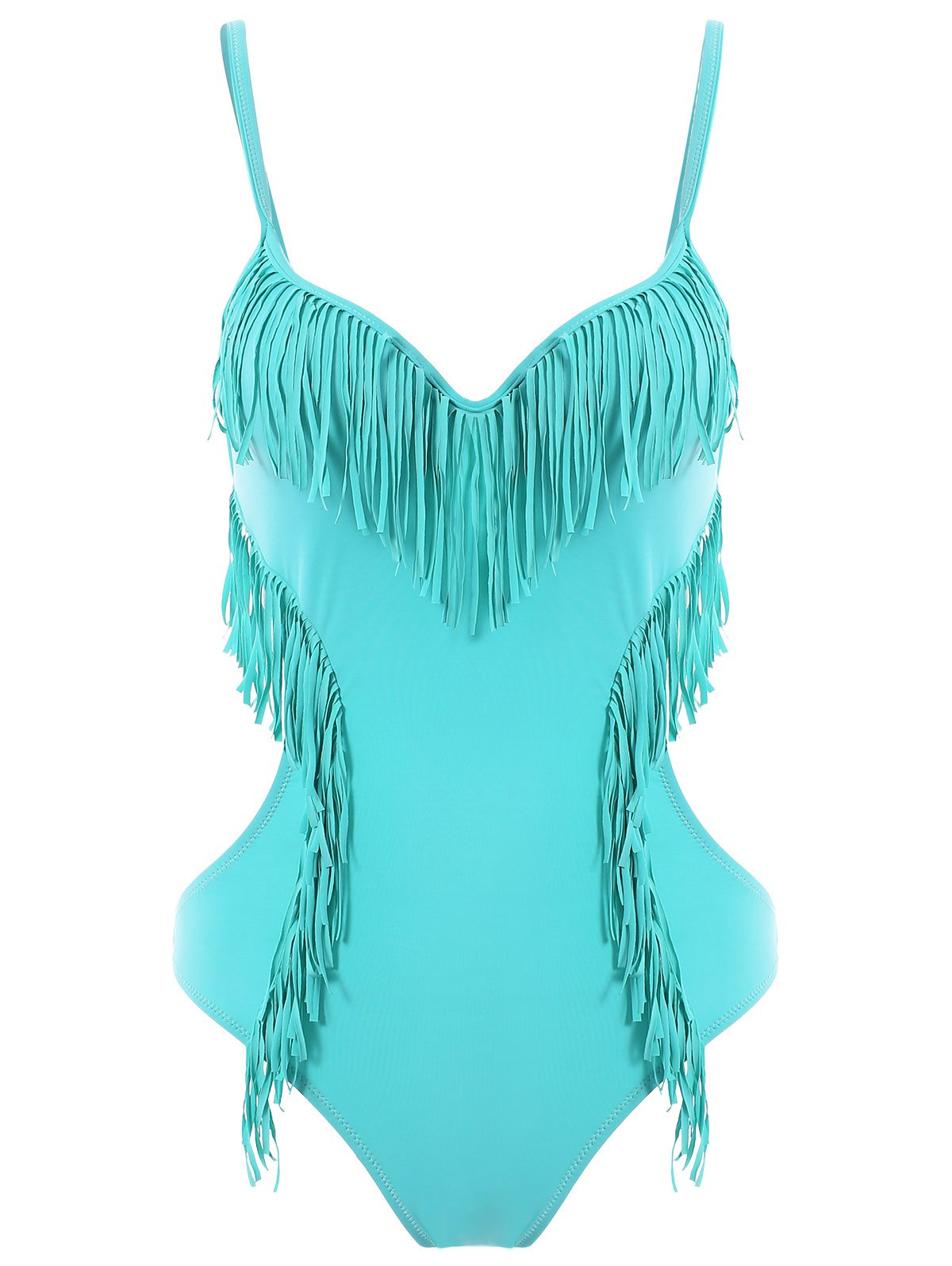Trendy Tassles Spaghetti Strap Candy Color One Piece Swimwear For Women