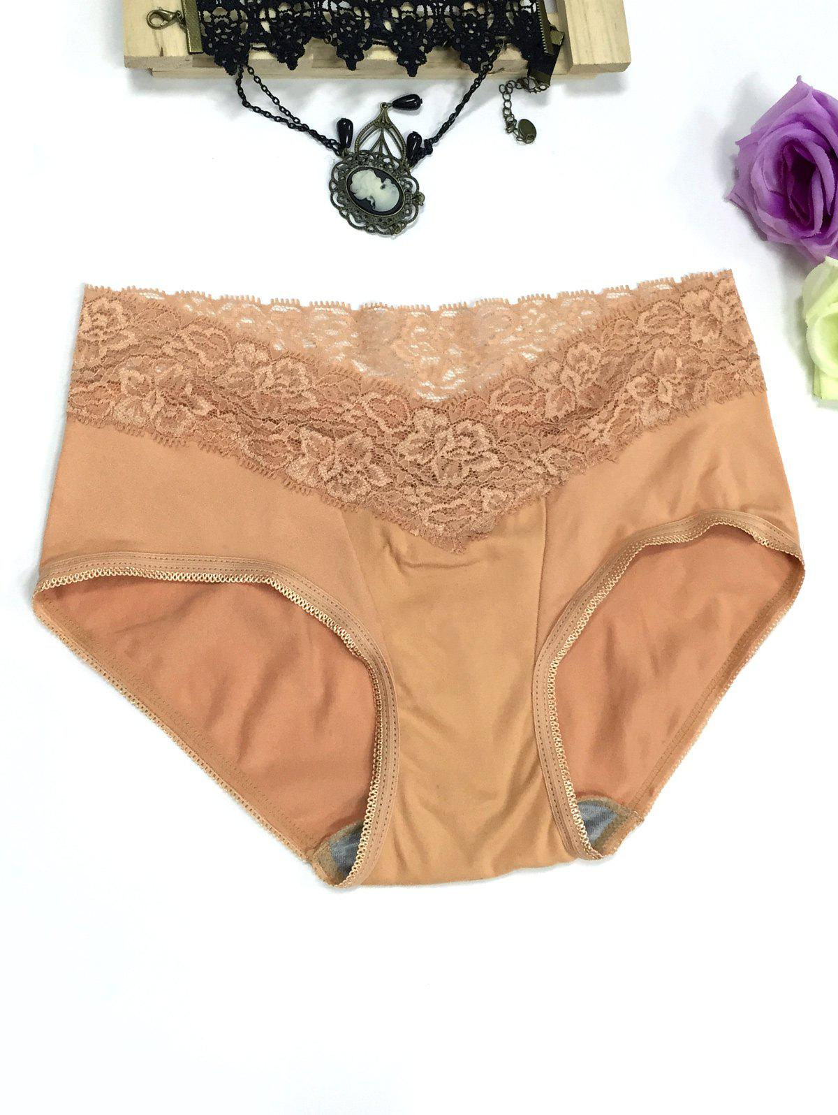 Lace Panel High Waisted Briefs - CHAMPAGNE L