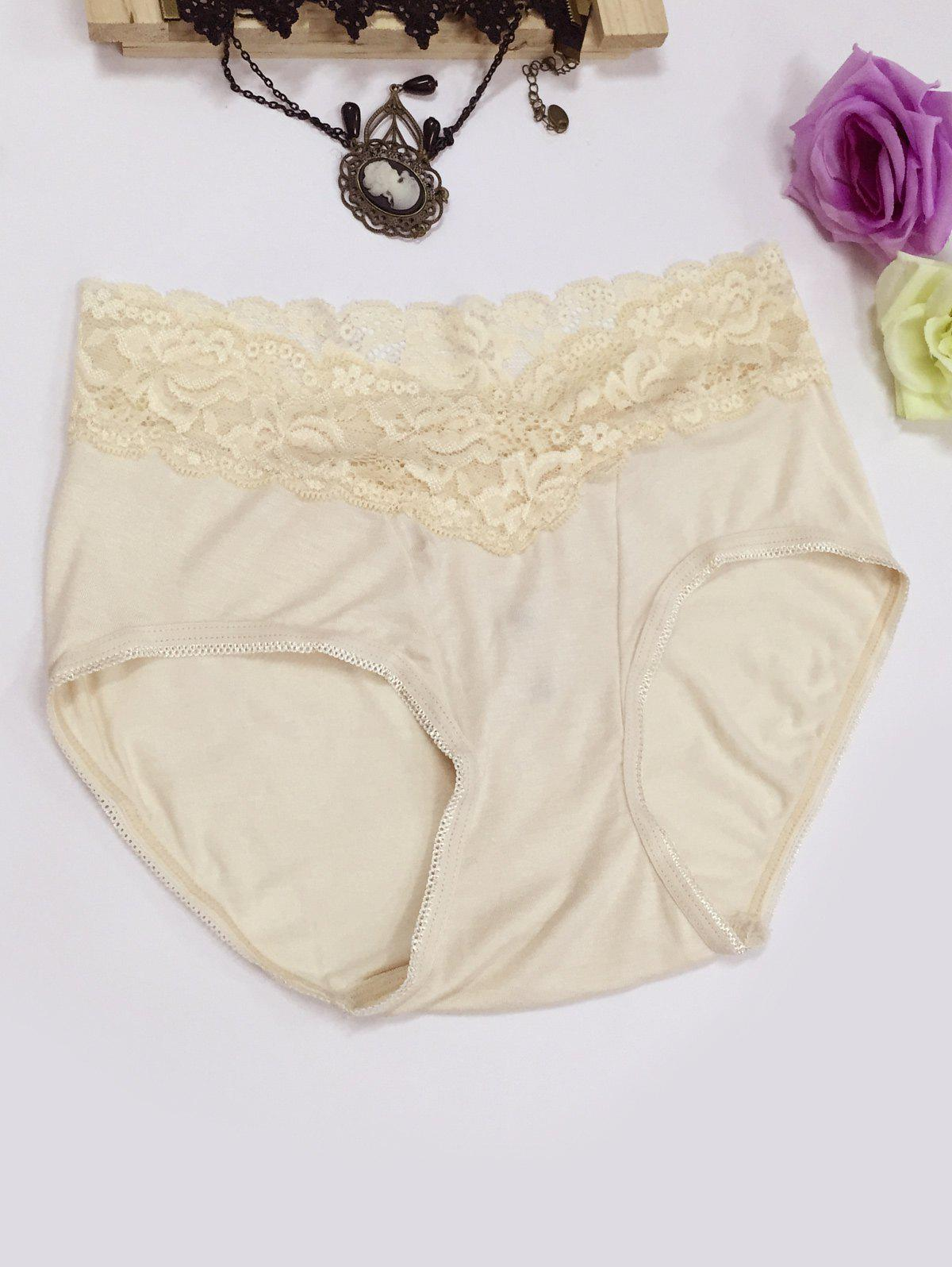 Lace Panel High Waisted Briefs - COMPLEXION M