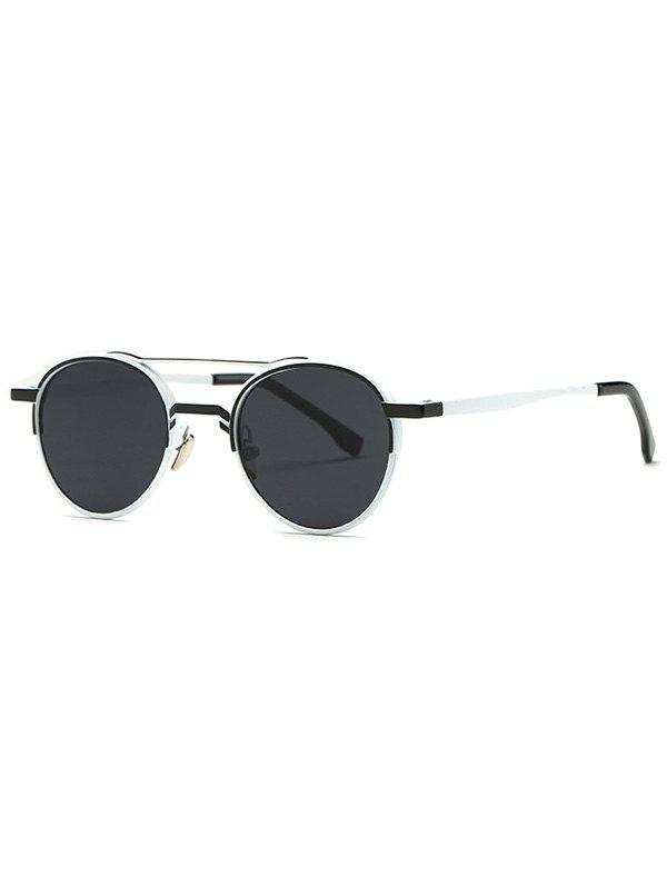 Casual Metal Crossbar Oval Sunglasses - BLACK