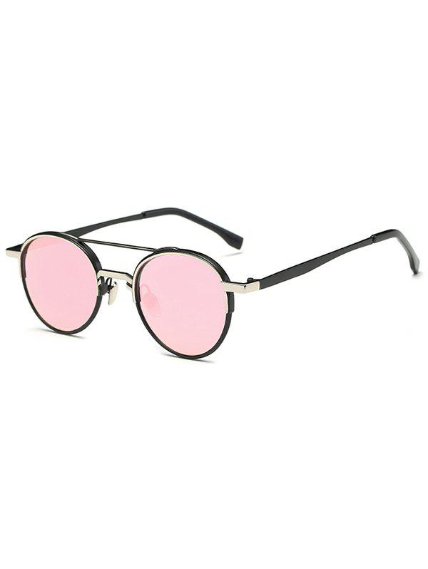 Casual Metal Crossbar Mirrored Oval Sunglasses - PINK