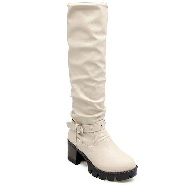 Faux Leather Buckle Strap Knee High Boots - OFF WHITE 39