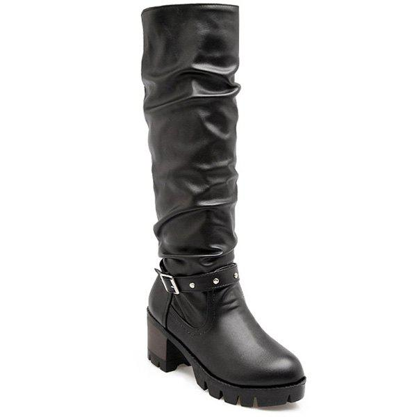 Faux Leather Buckle Strap Knee High Boots - BLACK 37