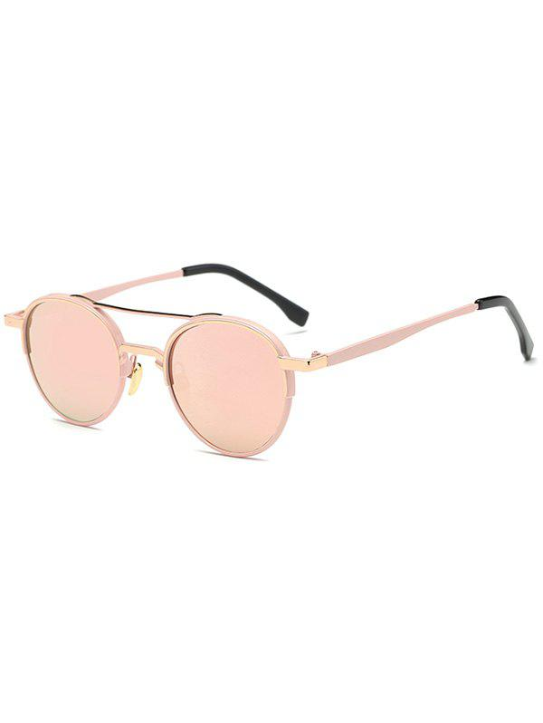 Casual Metal Crossbar Oval Mirrored Sunglasses - PINK