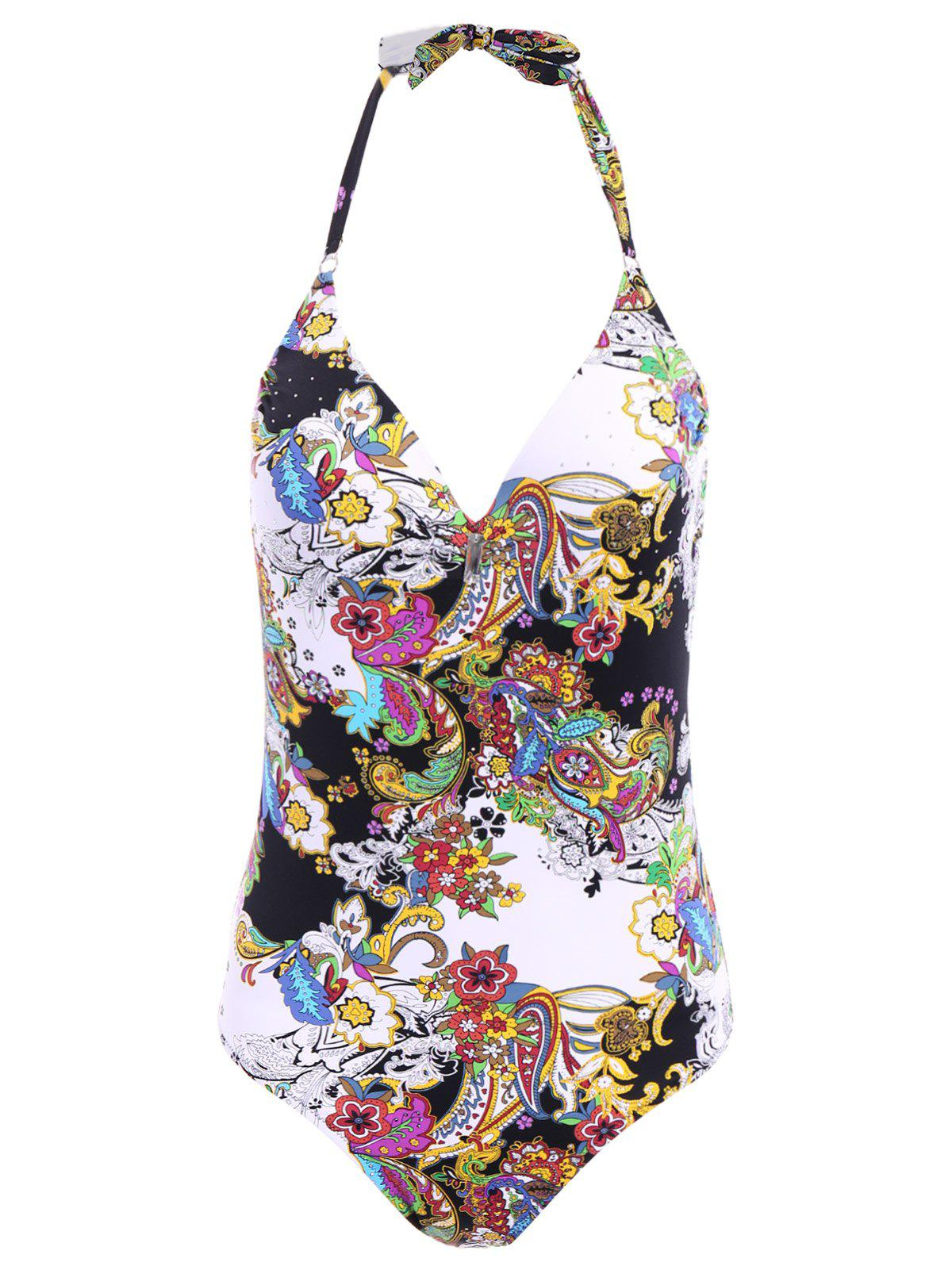 Chic Halter Floral Print Low Cut One-Piece Women's Swimwear chic halter floral print low cut one piece women s swimwear