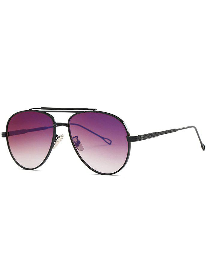 Cool Ombre Lens Crossbar Pilot Sunglasses - BLACK