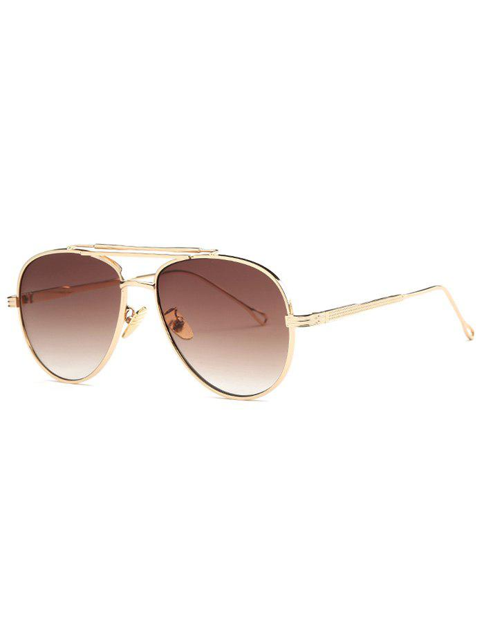 Cool Ombre Lens Crossbar Pilot Sunglasses - GOLDEN