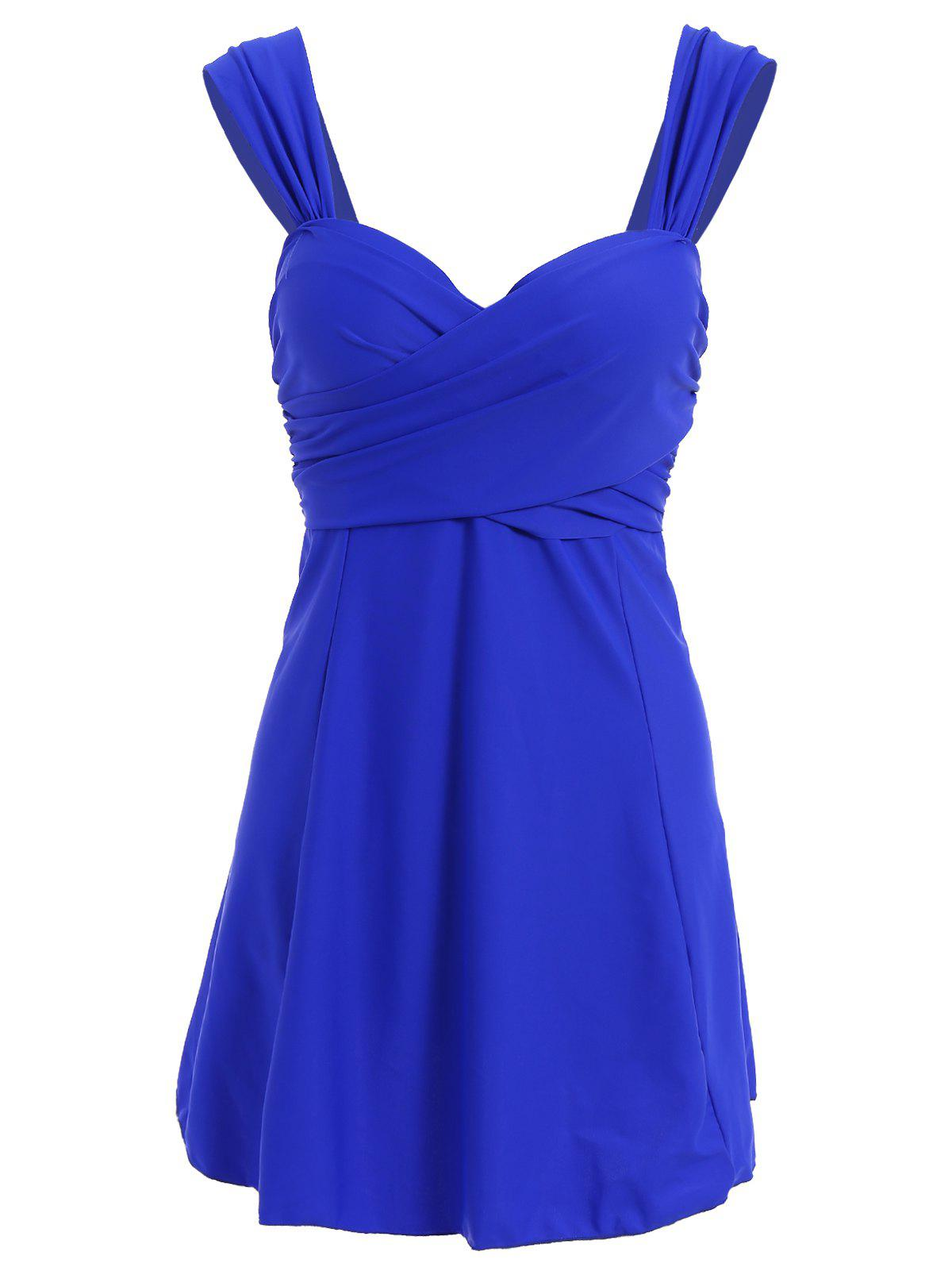 Trendy Pure Color Push Up Sweetheart Neck Plus Size Swimwear For Women - BLUE XL
