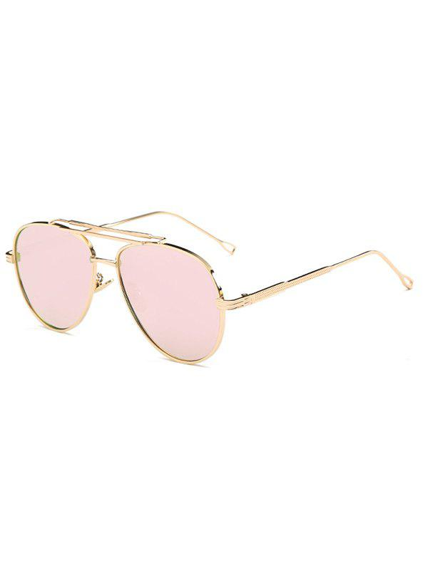 Cool Crossbar Mirrored Pilot Sunglasses - PINK