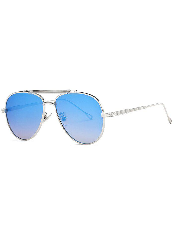 Cool Crossbar Mirrored Pilot Sunglasses - LIGHT BLUE
