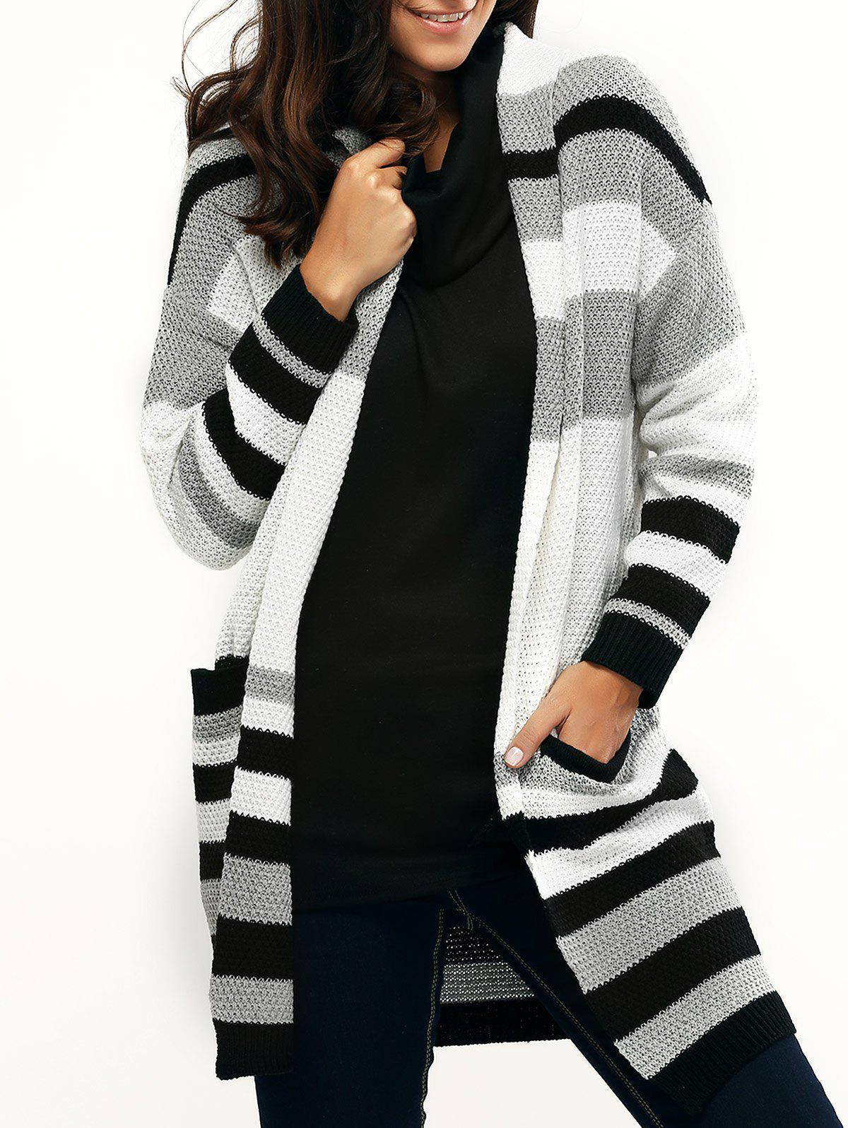 Pocket Design Striped Loose-Fitting Cardigan - STRIPE ONE SIZE