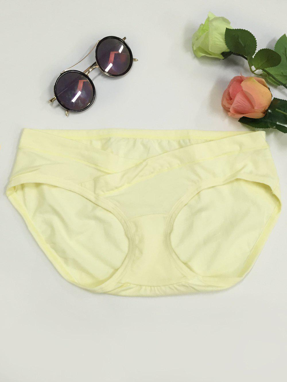 Low-Waisted Seamless Pregnant Briefs - LIGHT YELLOW 2XL