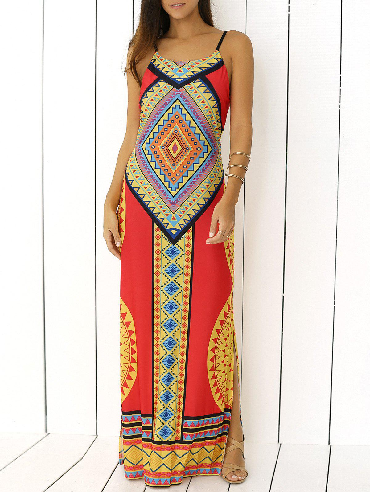 Spaghetti Strap imprimé tribal Backless Maxi Dress - Jaune M