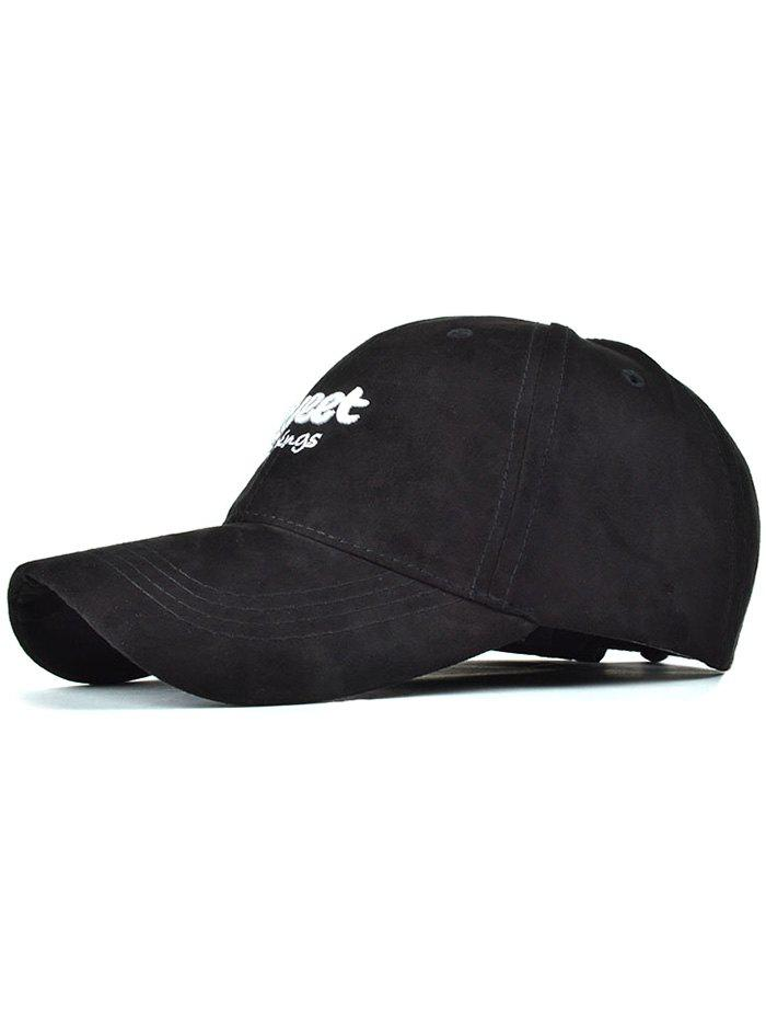Casual Letters Faux Suede Baseball Hat - BLACK