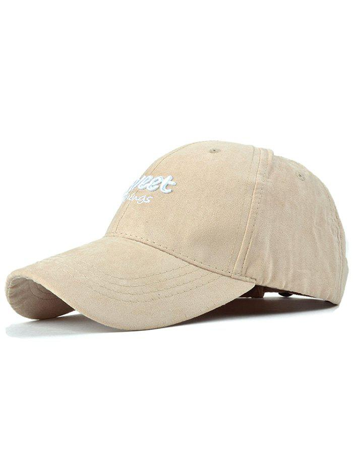 Casual Letters Faux Suede Baseball Hat - LIGHT KHAKI
