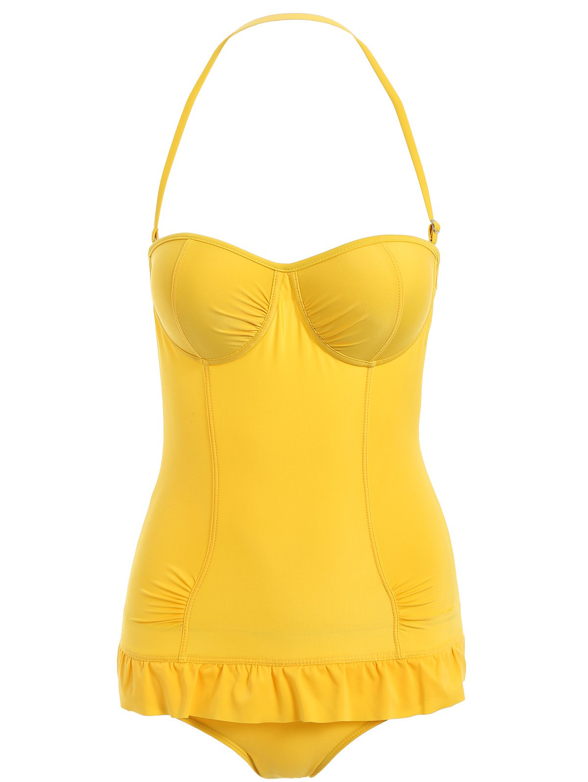 Halterneck Ruffled Solid Color One-Piece Swimsuit For Women - YELLOW S