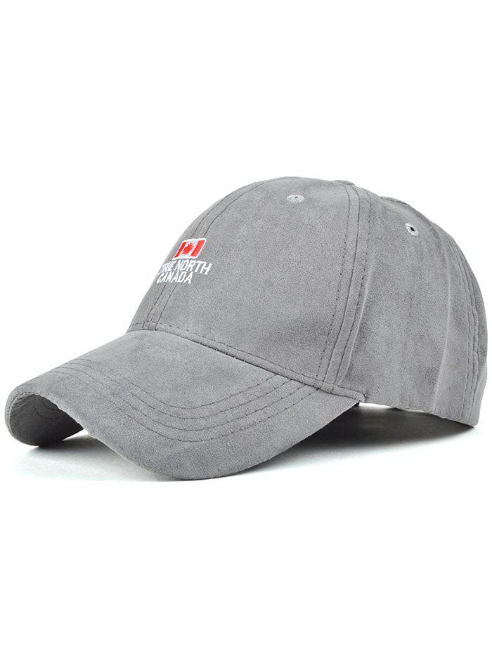 Casual Letters and Canada Flag Embroidery Faux Suede Baseball Hat - GRAY