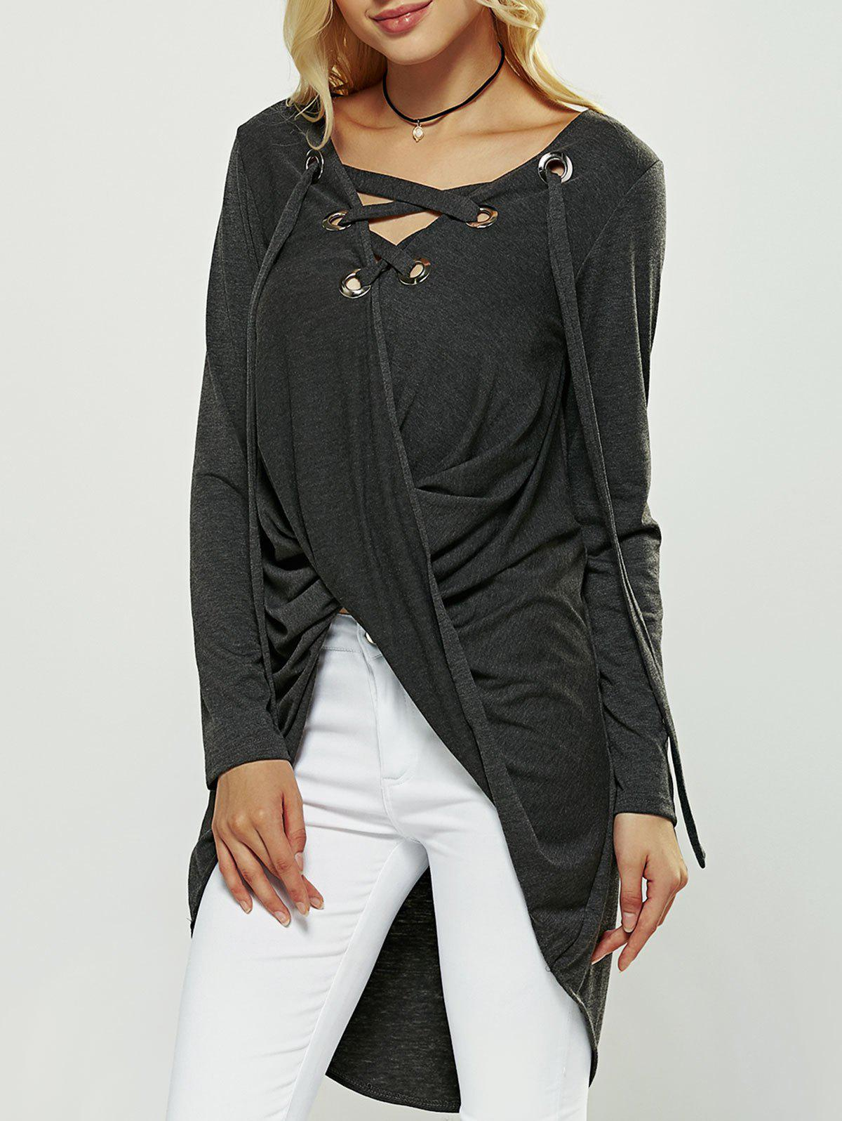 Cut Out Long Sleeve High Low Blouse - GRAY ONE SIZE