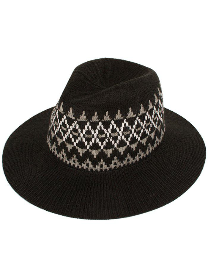 Casual Geometry Knitted Jazz Hat - BLACK