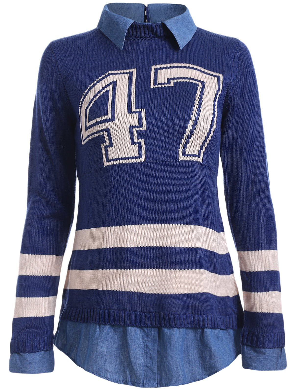 Number Pattern Varsity-Striped Splicing Knitwear