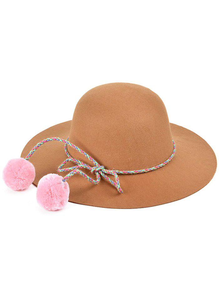 Casual Small Pompon Lace-Up Felt Jazz Hat