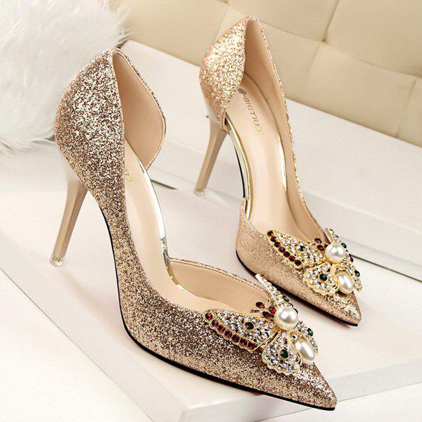 Sequined Butterfly Faux Pearl Pumps - GOLDEN 37