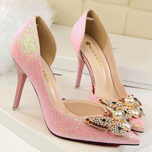 Sequined Butterfly Faux Pearl Pumps - PINK 38