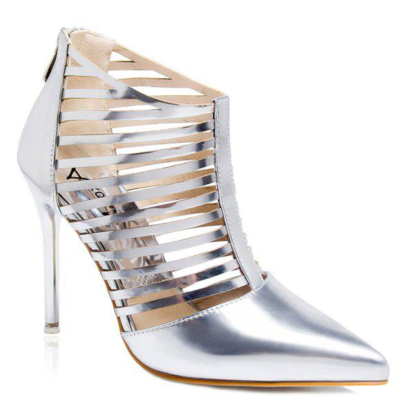 Party Stiletto Heel Cut Out Pumps - SILVER 38