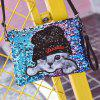 Cat Applique Sequins Clutch Bag - BLUE