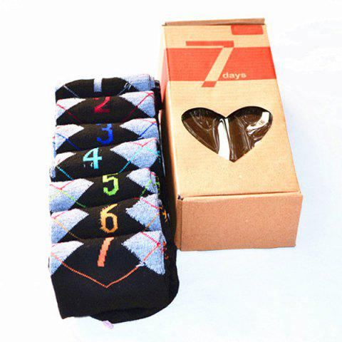 7 Pairs of Casual Number and Argyle Pattern Socks - BLACK