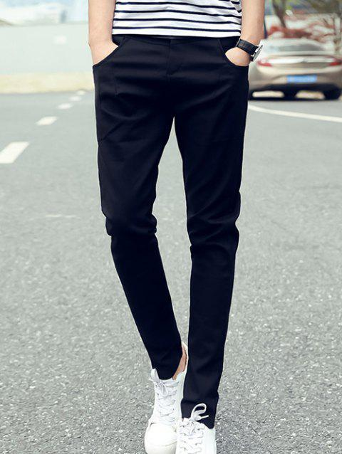Zipper Fly Slim Fit Narrow Pieds Pantalons - Noir L