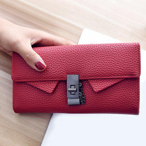 Embossing Twist-Lock Closure Chain Wallet - RED
