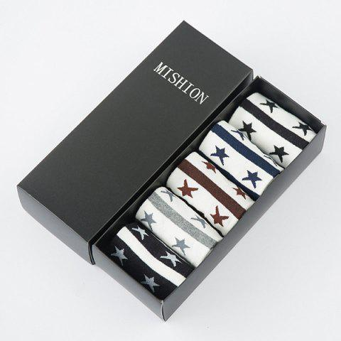 One Set Casual Stripe and Five-Pointed Star Pattern Socks - COLORMIX
