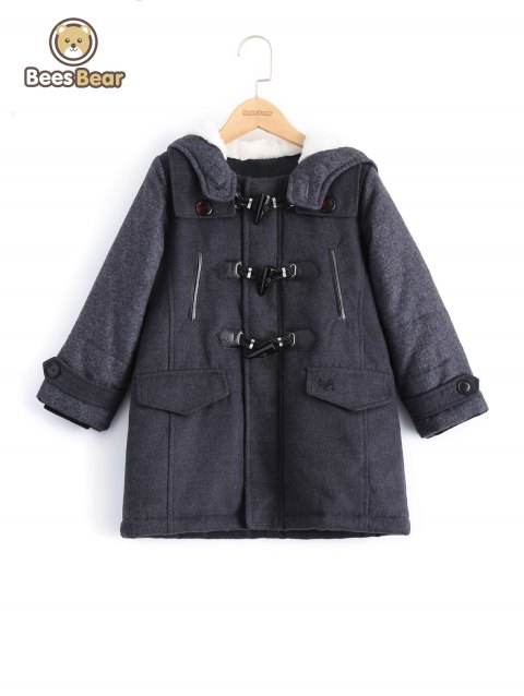 Stylish Hooded Horn Button Thicken Wool Coat For Boy - DEEP GRAY CHILD-8