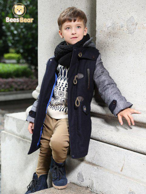 Stylish Hooded Horn Button Thicken Wool Coat For Boy - PURPLISH BLUE CHILD-5