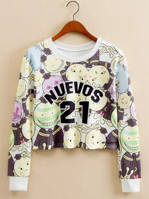 Cartoon Doctor Letter Cropped Long Sleeve Sweatshirt - COLORMIX L