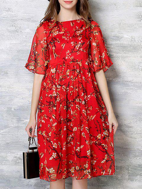 Loose-Fitting Bell Sleeves Blossom Print Dress - RED 2XL